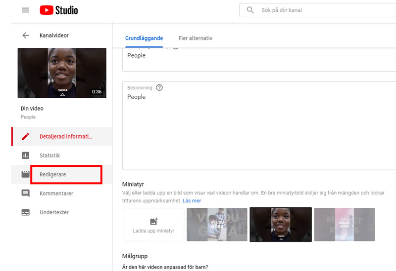 videoredigering youtube